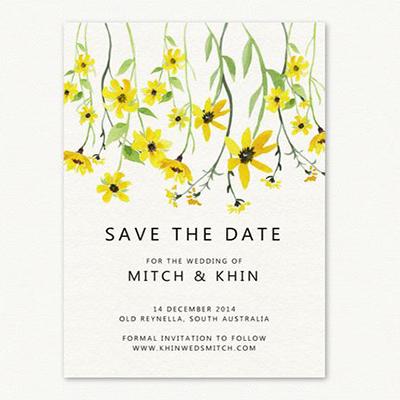 invito a nozze fiori gialli