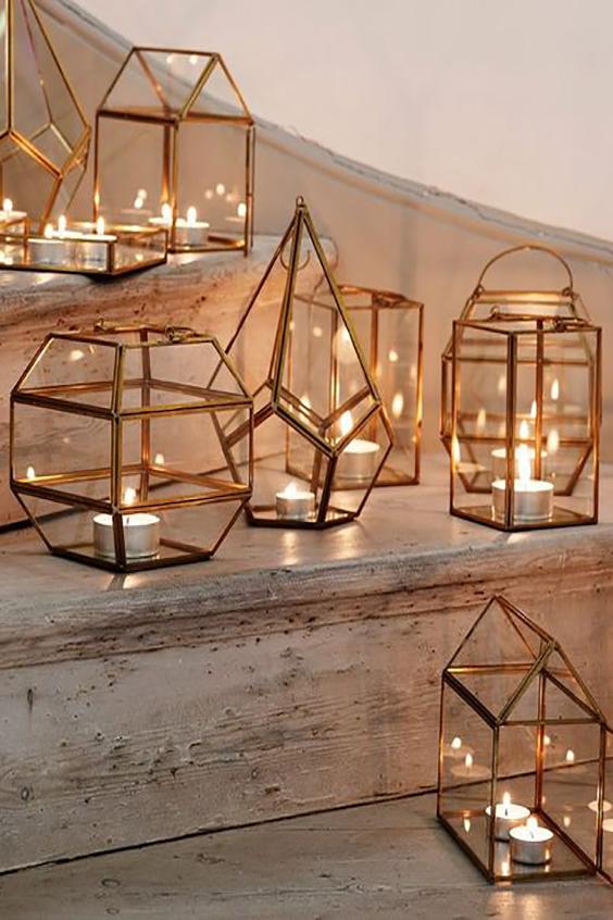 decorazione wedding candele e lanterne metalliche