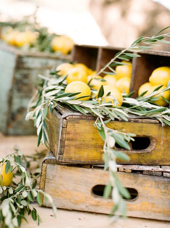 limoni e ulivo cassetta rustica decorazione matrimonio