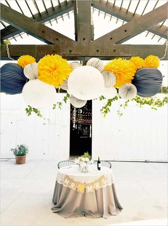 tavola sposi con palloni gialli