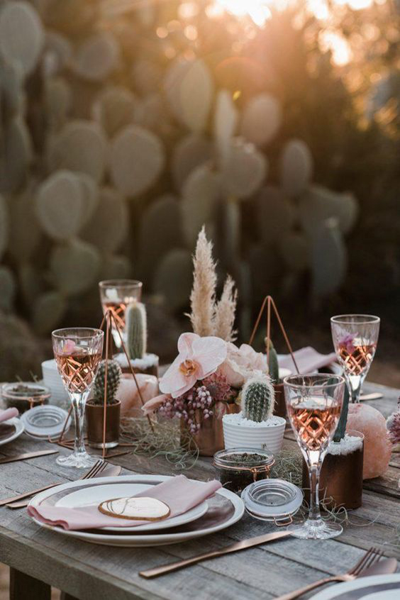 allestimento tavolo matrimonio rame con cactus