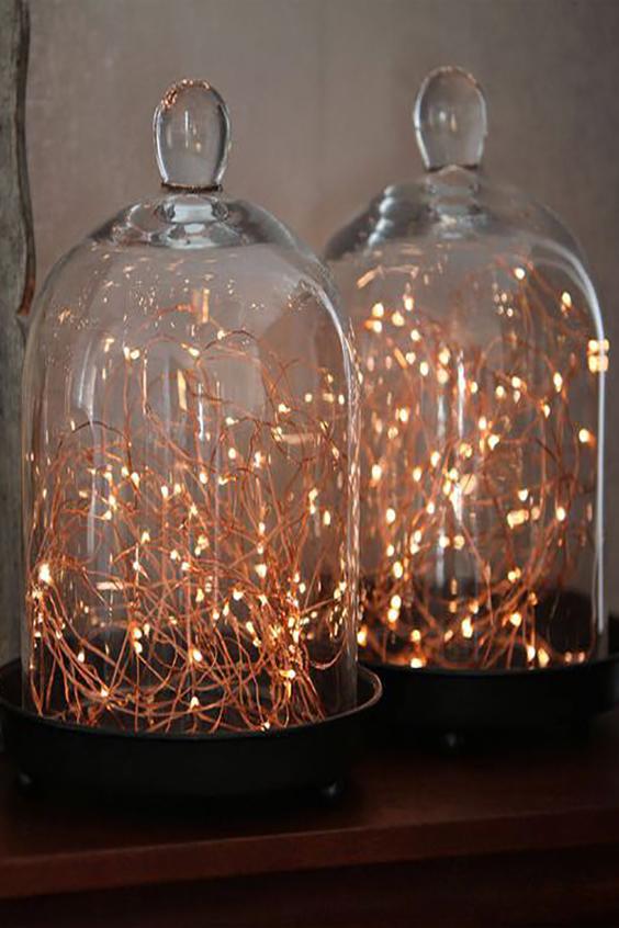 decorazione matrimonio luci rame in campana di vetro