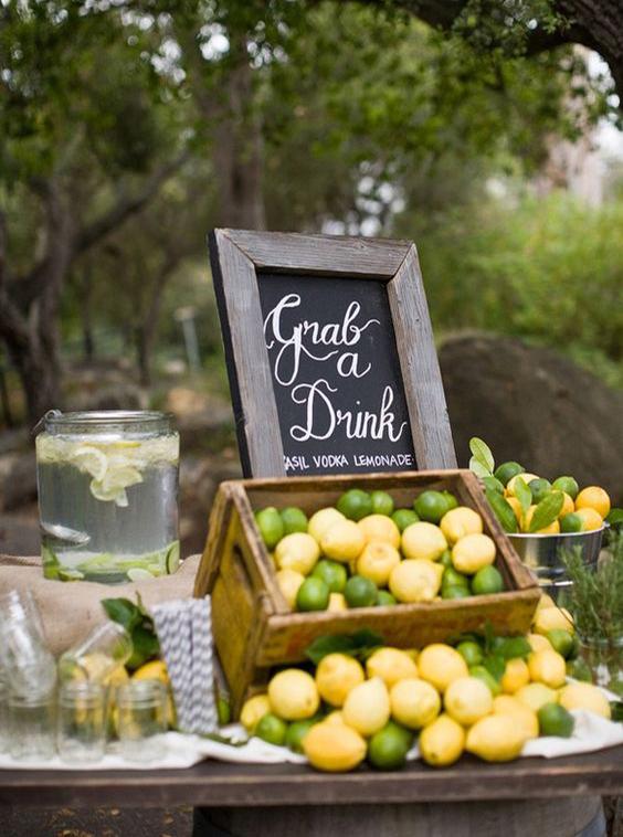 cassetta limoni matrimonio drink station