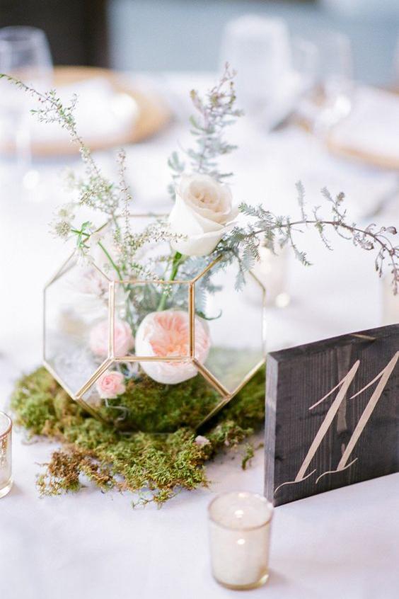 centrotavola matrimonio fiori metallo e vetro