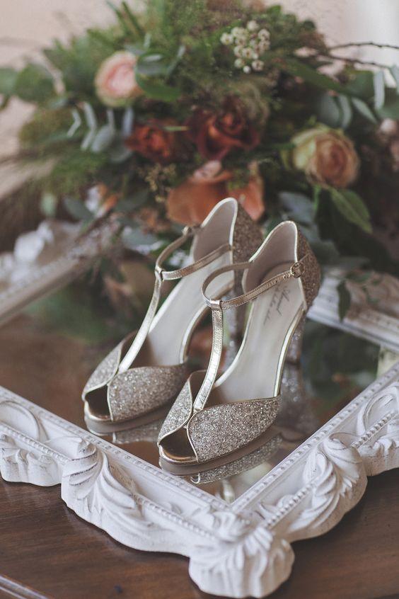 scarpe da sposa t-bar con brillantini argento