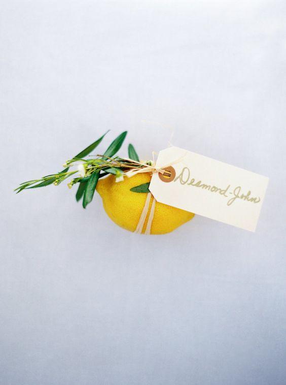 segnaposto matrimonio con limone