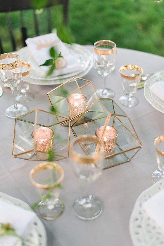 centrotavola matrimonio candele e rame minimal