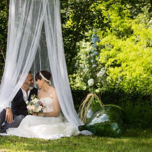 allestimento matrimonio sposi sotto zanzariera